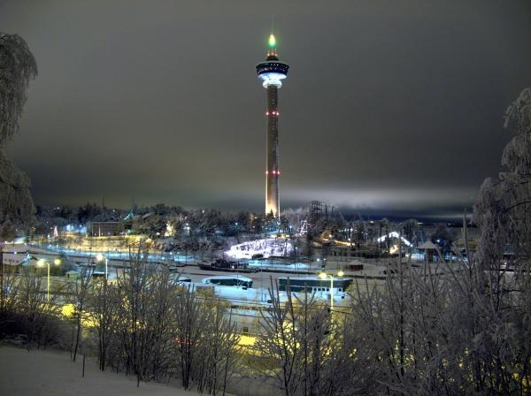 Särkänniemi Adventure Park in winter time in Tampere, Finland