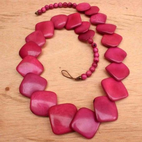 Strong Pink Square Tagua Nut Beaded Necklace