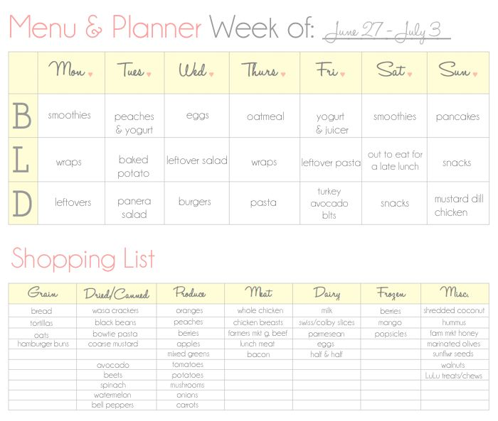 192 best Family! images on Pinterest - printable meal planner