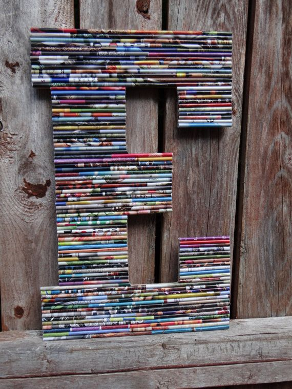 13 In UpCycled Wood Wall Letter  Rolled Paper Art by CalypsoChic, $19.75
