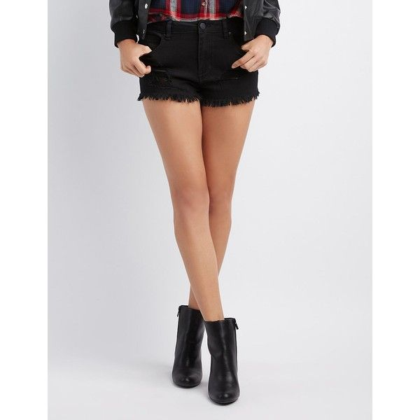 Refuge Hi-Rise Cheeky Cut-Off Denim Shorts ($17) ❤ liked on Polyvore featuring shorts, black, high rise jean shorts, distressed denim shorts, denim shorts, jean shorts and ripped jean shorts