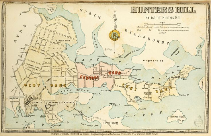 Hunters Hill borough map. Available to purchase as an archival print. Contact the Library Shop for details. Print number C006720023