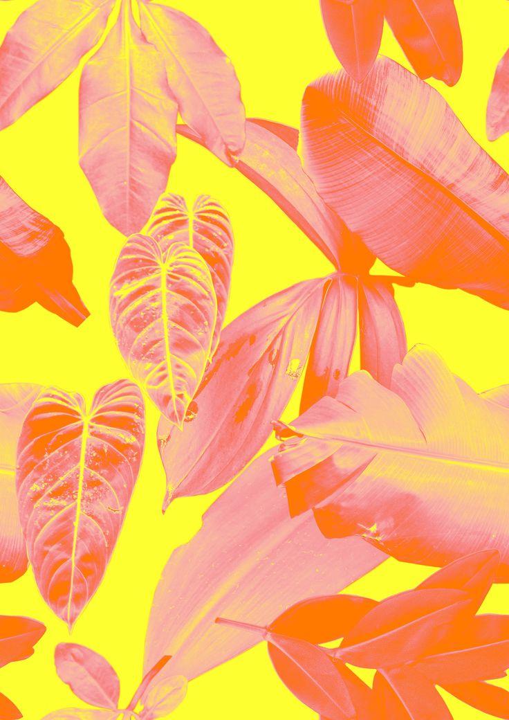 leaf print in yellow and red by Rhianna Ellington
