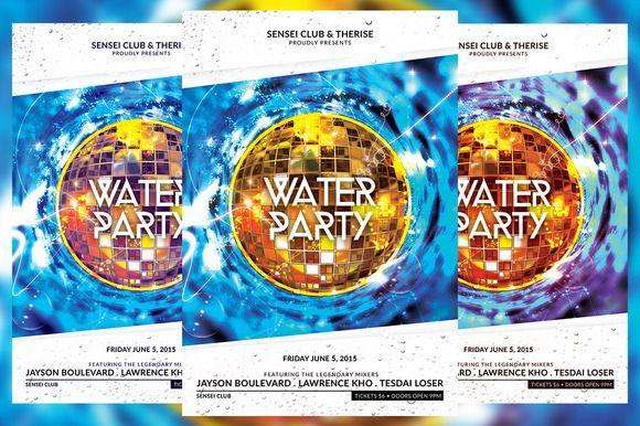 Water Party Flyer by KiraYamato on @creativemarket