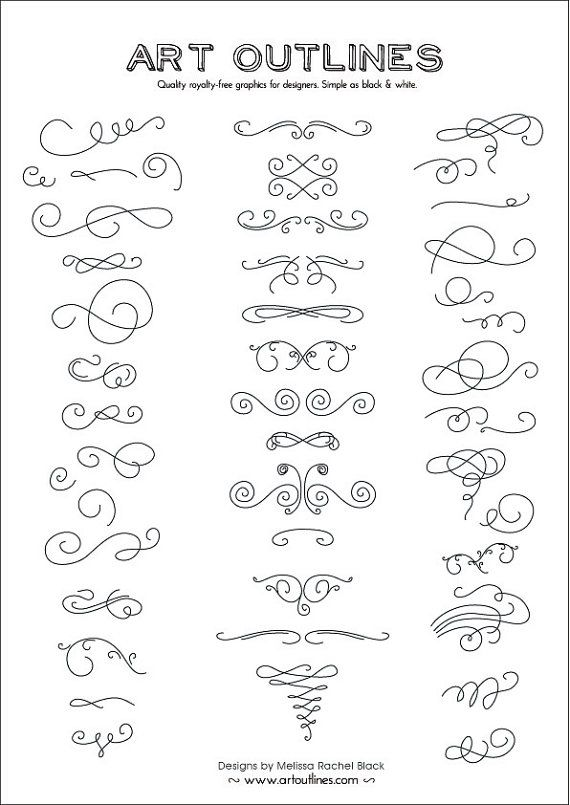 Set of Swashes & Swirls Full Page - 46 Original Hand Drawn Flourishes, Glyphs and Ornaments