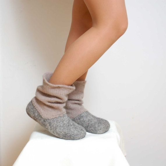 Felted wool slipper boots Grey - organic wool felt boots - boiled wool shoes