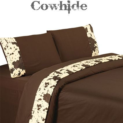 350 TC Cotton Chocolate Brown Cowhide Sheet Set. Western BedroomsSouthwestern  ...