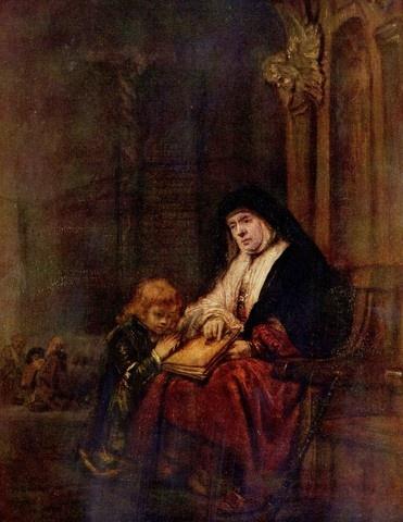"""렘브란트, """"디모데와 그의 할머니"""", 1648, 패널에 유채, 엘즈미어 백작 컬렉션. 나이를 먹지 않는 여신이 아닌 한, 모든 여자들은 나이를 먹어 노파가 된다. 나이를 많이 먹은 여자는 자연스럽게 외모가 추해지기 마련이다. 하지만 그것이 다가 아니다. 나이를 먹음으로써 외모는 추해질언정 내면은 더 성숙해지고 지혜로워진다. 추한 외모로 변화하는 과정 속에 가치있는 것들이 얼마나 많겠는가."""