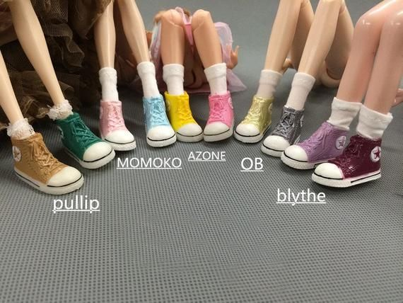 Cute Doll Shoes Sneakers for 1/6 Dolls, Blythe, Pullip, BJD, Licca, Azone Jerryberry, Momoko – Doll Making Accessories upto 3.6cm feet