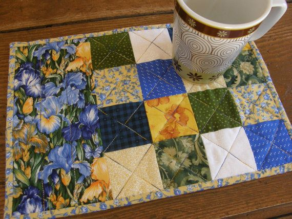BLUE IRISES Patchwork Quilted Mug Rug or by MoonDanceTextiles, $12.00