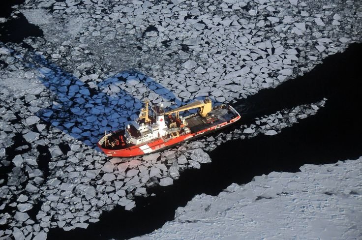 Icebreaking on the St Mary's River, photo by U.S. Coast Guard Air Station Traverse City Here's an aerial shot of the 228-foot Canadian Coast Guard Ship (CCGS) SAMUEL RISLEY working in partnership w...