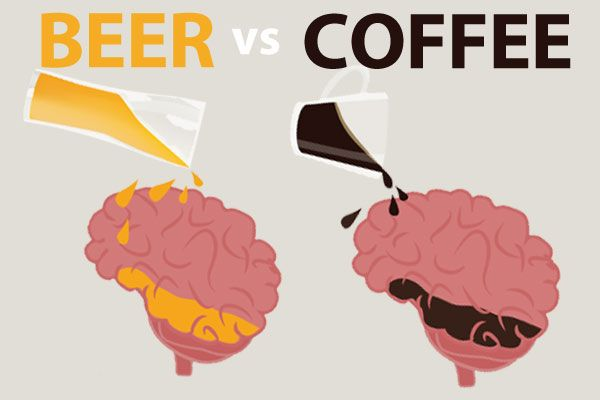 Ever wondered what really happens to your brain when you have beer or coffee? This infographic breaks it down nicely.