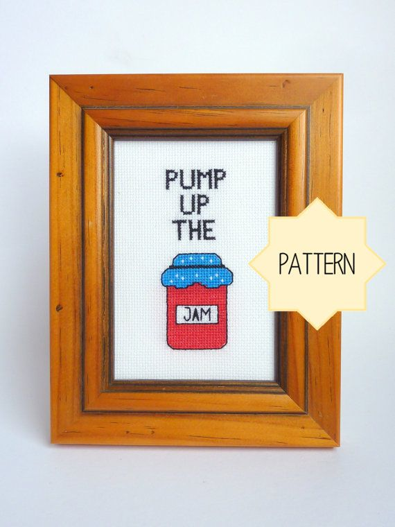 """Full of kitsch fun and a little 80s whimsy this cross-stitched beauty boldly invited you to """"Pump Up the Jam!"""" Featuring a perfect little jam"""