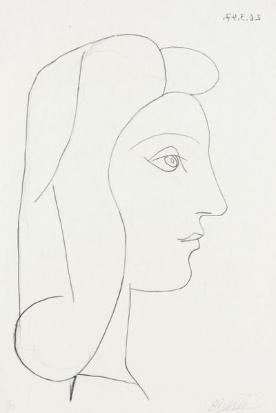 Picasso Line Drawing Face : Pablo picasso profil de femme drawing pinterest