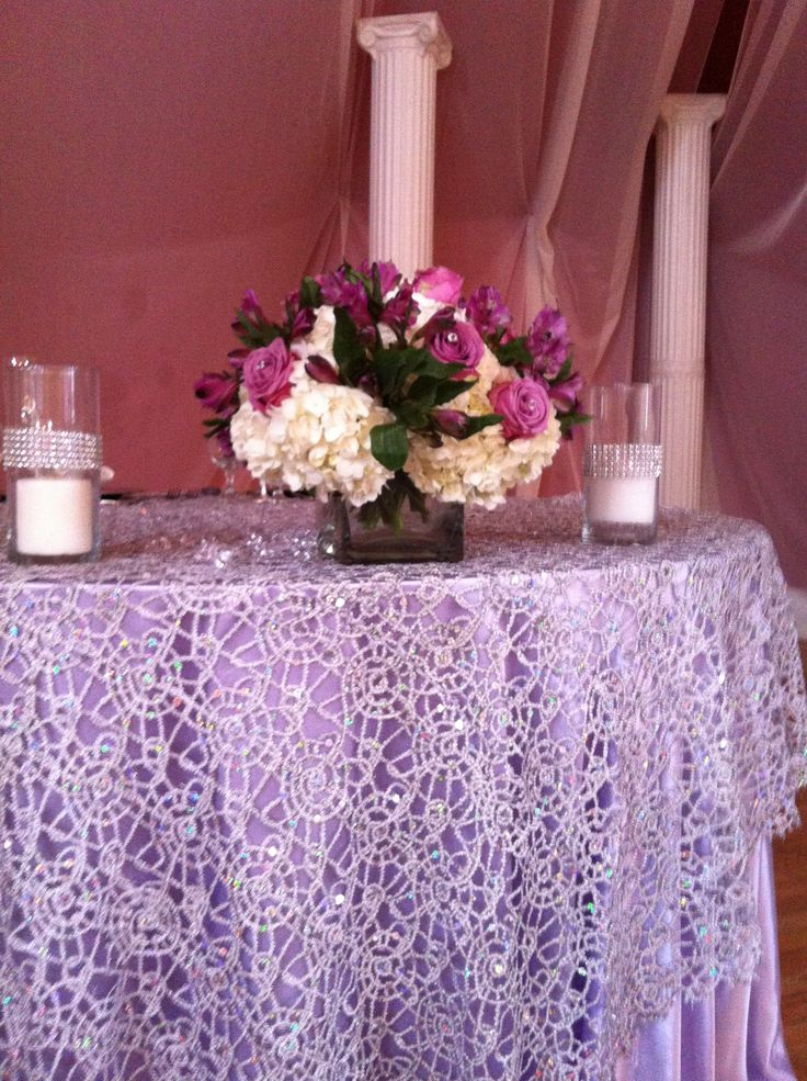Chemical Lace Silver Overlay Over Satin Lavender Tablecloths .  Www.cvlinens.com #wedding