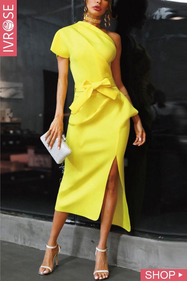 One Shoulder Ruched Irregular Get together Gown