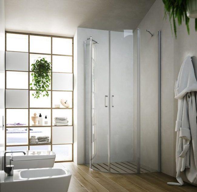 Duschwände aus Glas bad-stauraum-duschkabine-viertelkreis-schwingtüren-soho-glass1989