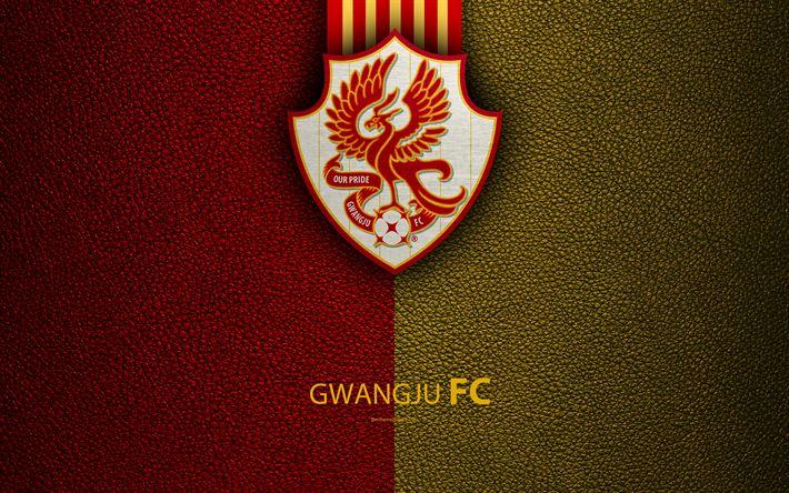 Download wallpapers Gwangju FC, 4k, logo, South Korean football club, K-League Classic, leather texture, emblem, Gwangju, South Korea, football championship