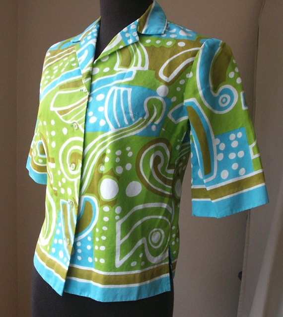 Vintage 60's Mod Shirt  Aloha Wear Abstract by momodeluxevintage, $29.00