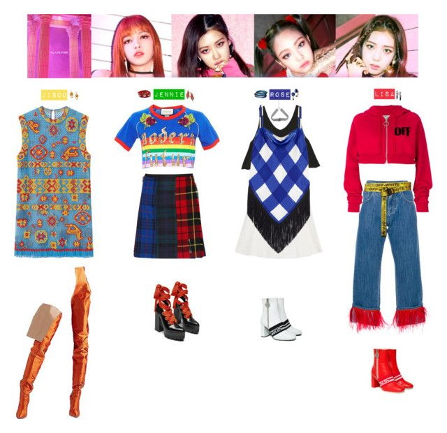 """BLACKPINK - AS IF IT'S YOUR LAST💙💜❤️💚💛"" by vvvan99 on Polyvore featuring Dolce&Gabbana, Off-White, Gucci, Balenciaga, Le Kilt, Pellini and GCDS"
