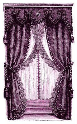 Vintage Clip Art - Fancy Victorian Curtains -Draperies - The Graphics Fairy