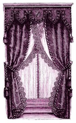 Vintage Clip Art - Fancy Victorian Curtains -Draperies - The Graphics Fairy