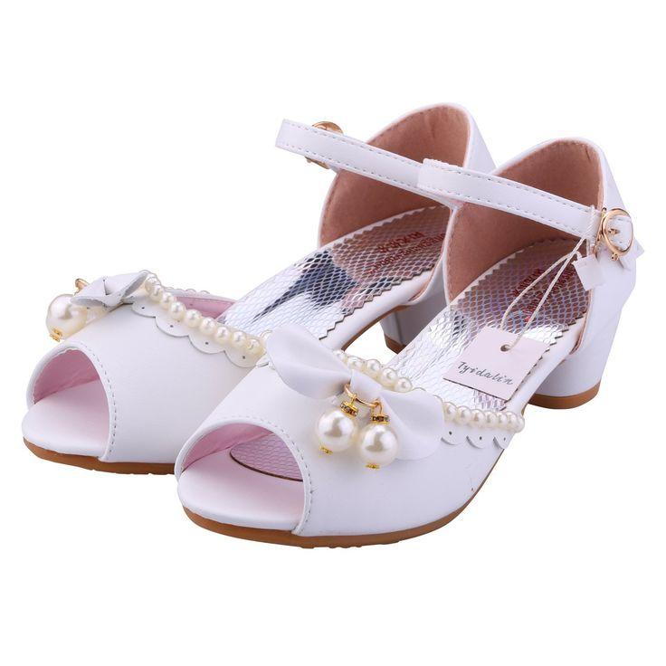 Sandalen Kinder Mädchen Absatz Schuhe Peeptoes - Tyidalin Festlich Schuhe für Hochzeit Geburtstag Party Fest Weiß Pink: Amazon.de: Schuhe & Handtaschen