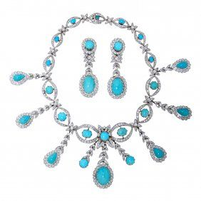 Turquoise and Diamond Necklace and Earrings Set, 22 ctw
