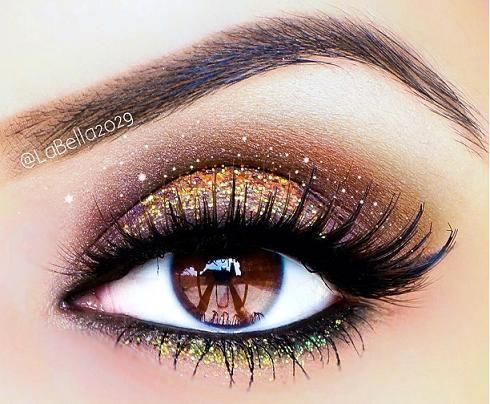 Gold & Green eye make up