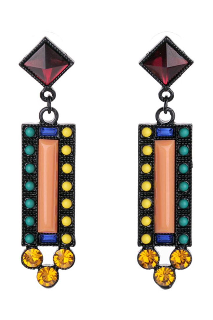 The drop earrings featuring geo pattern. Rhinestones embellishment. Post back.