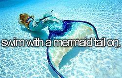 Ich hab immer davon geträumt eine Meerjungfrau zu sein, bin auch immer so geschwommen als hätte ich eine Flosse :D ich möchte einfach mal so eine Flosse anhaben und den ganzen Tag nur schwimmen und ich will Fotos davon!! :)