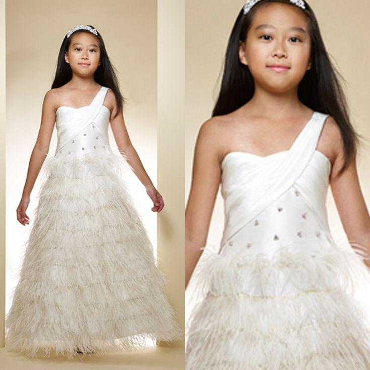 Одно плечо трапециевидный цветок девочка платья тафта перья официальный платье бусины цветок девочка платья для свадьбы