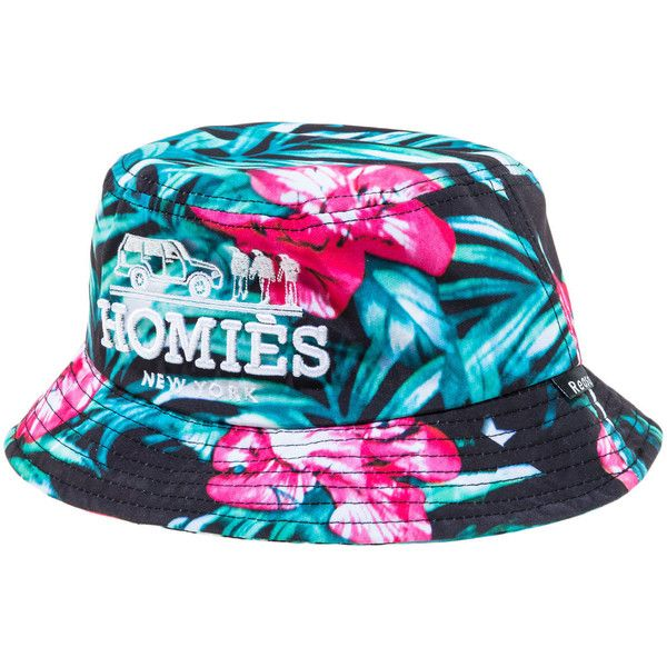 Reason The Homies Floral Bucket Hat in Black ($17) ❤ liked on Polyvore featuring men's fashion, men's accessories, men's hats, hats, bucket hat, accessories, multi and mens floral hats