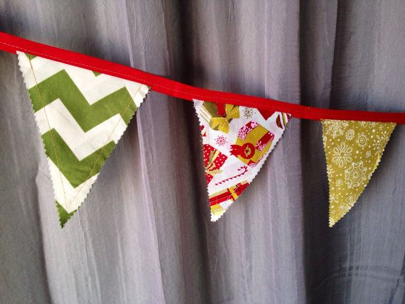 Holiday Fabric Bunting, Banner, Flag, Pennant - Christmas Presents, Chevron, Snow Flakes, Garland, Photo Prop, Room Decor, Party on Etsy, $25.00