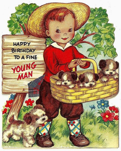 Greeting Card Happy Birthday Boy With Puppies In A Basket