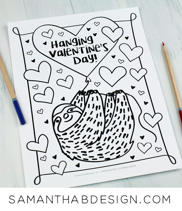 Adorable Sloth Coloring Sheet For Valentine S Day Free Pdf Download Www Sama Valentines Day Coloring Kids Themed Birthday Parties Birthday Party Activities