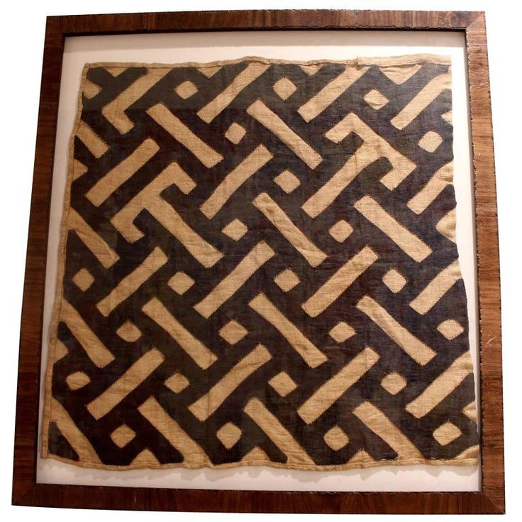 Midcentury Framed African Tribal Kuba Cloth | From a unique collection of antique and modern decorative art at https://www.1stdibs.com/furniture/wall-decorations/decorative-art/