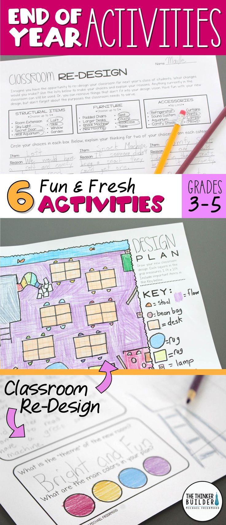 """Fun and fresh End-of-the-Year activities, including a Re-Design the Classroom project, an """"ABCs Scroll"""" for your grade, Inspirational Quote Quilt to encourage next year's class, End of the Year Newscast, and more! For Grades 3-5 ($) Or bundle with my first pack HERE >> https://www.teacherspayteachers.com/Product/BUNDLE-End-of-the-Year-Activities-Fun-Fresh-2-Packs-2527205"""