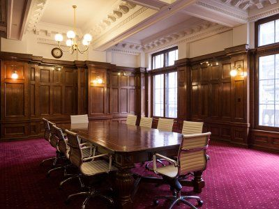 Heritage buildings deserve an appreciation of their history. This boardroom was renovated tastefully while keeping the style.