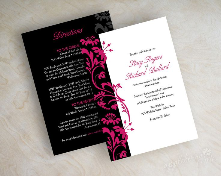 Swirly Vines Wedding Invitations Shown In Fuchsia Hot Pink Magenta Black