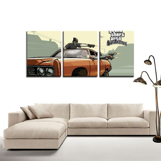 GTA San Andreas Street Gang Retro 3pc Canvas Wall Art Decor   #GTA #SanAndreas #Street #Gang #Retro #3pc #Canvas #WallArt #Decor