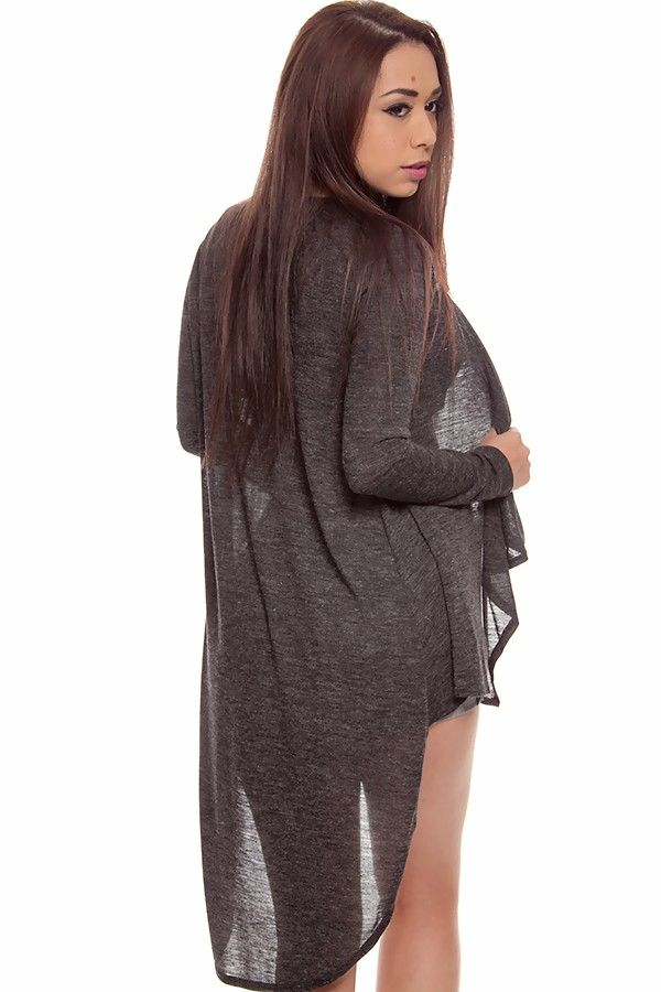 grey cardigan#long back cardigan#open front cardigan#long sleeve ...