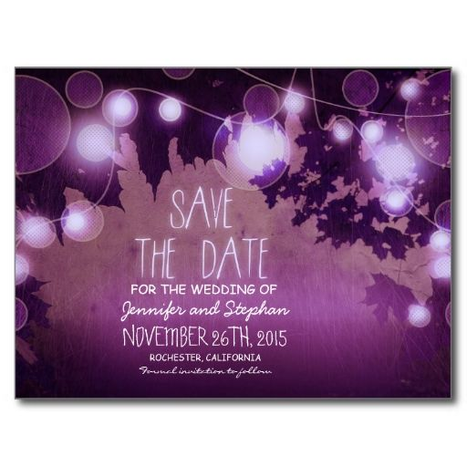 romantic purple night lights vintage save the date post card