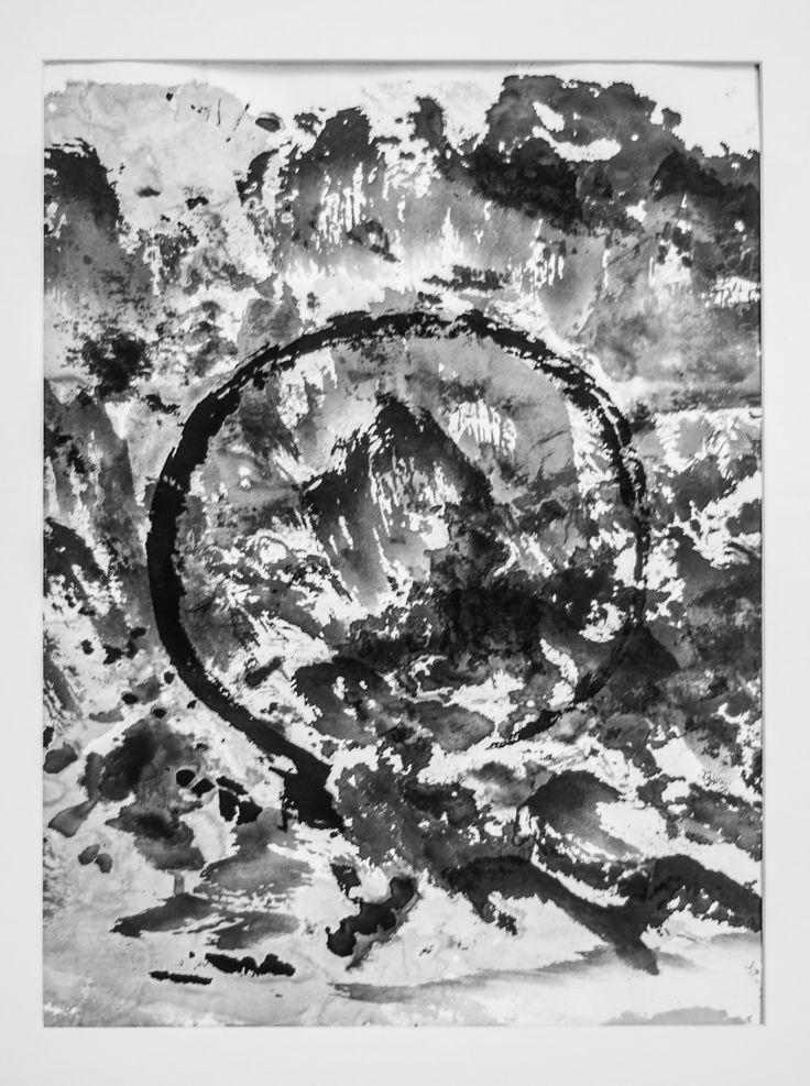 Ensō de la montaña. Chinese ink on paper, 20 x 40cm, Ramón Peralta, 2015.