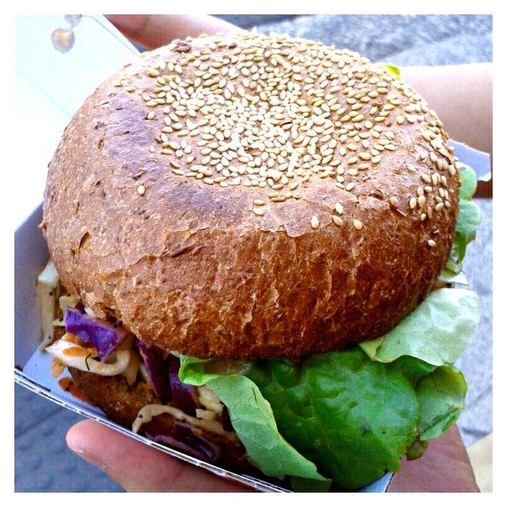 Tofu Burger @ Laurie's Vegetarian, Bondi. Yummy! Best bun I had ever.