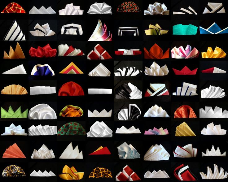 """Pocket Square Folds...but...there is great napkin folding """"inspiration"""" here."""