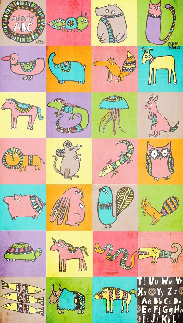 grafiki magda popovics, magda popovics, ilustracje dla dzieci, kolorowe ilustracje, kolorowy pokój dla dziecka