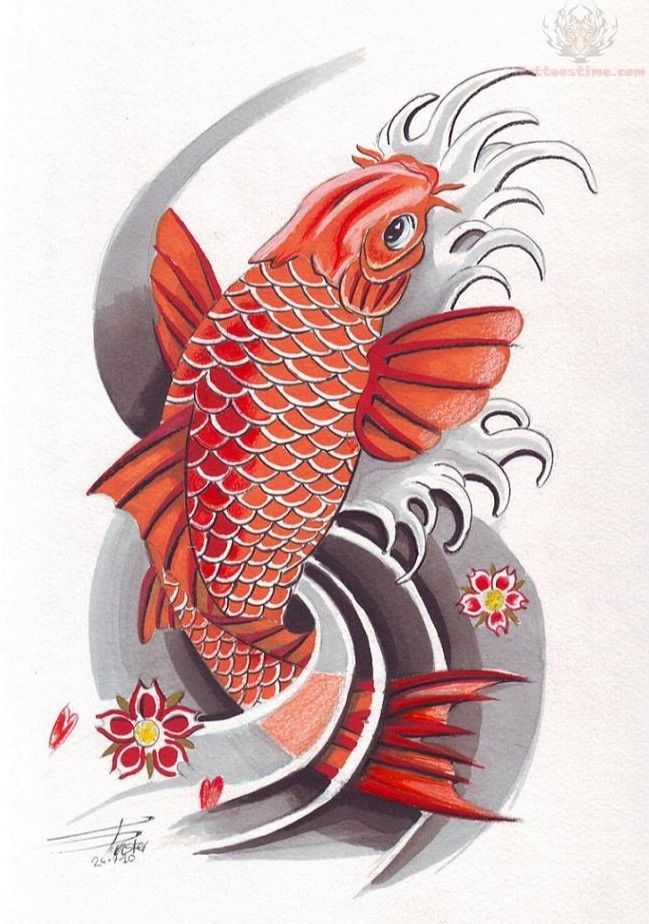 Colorful koi fish tattoo design ink pinterest koi for Colourful koi fish