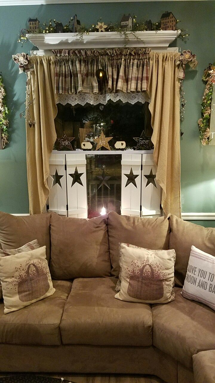 Primitive Living Room Curtains - Love love love my new shutters primitive curtainsburlap