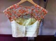 Sari or saree blouse design - back. Indian bridal fashion.                                                                                                                                                     More